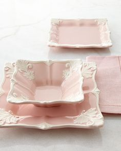 They are beautiful!!! 12-Piece Pink Square Baroque Dinnerware Service A favorite pattern takes on fresh appeal in this soft pink and ivory dinnerwar...