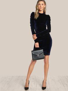 Puff Sleeve Velvet Pencil Dress -SheIn(Sheinside) Fashion 2017 736c38bbe683