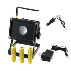 29.33$  Watch more here - http://aitnf.worlditems.win/all/product.php?id=32671456507 - Portable 10W Rechargeable Led Floodlights White Light  LED Flood Lamp Outdoor Garden Lighting + 3x 18650 Battery + 2x Charger