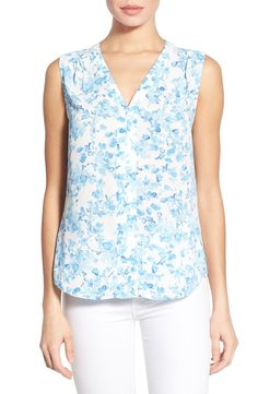 NYDJ NYDJ Floral Print V-Neck Sleeveless Top (Regular & Petite) available at #Nordstrom