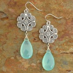 Peruvian Chalcedony Sterling Silver Earrings - Victoria by YarrowJewelry on Etsy https://www.etsy.com/listing/52016845/peruvian-chalcedony-sterling-silver