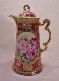 Vintage Nippon Chocolate Pot Decorated with Hand Painted Roses