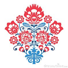 Polish Folk art pattern with flowers - wzory lowickie, wycinanka