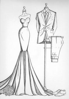 Wedding dress illustrations from Wedding Dress Ink Dress Design Drawing, Dress Design Sketches, Fashion Design Sketchbook, Fashion Design Drawings, Fashion Sketches, Drawing Sketches, Suit Drawing, Ink Drawings, Sketch Design