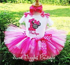 Birthday Tutu Outfit  Pink Minnie Mouse by SweetBirthdayGiggles, $59.95
