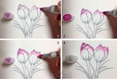 Coloring Spring Crocus with Copic Markers Sharon Harnist  4-29-14 for Copic