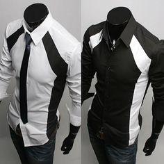 New Men's Casual Luxury Stylish White/Black Slim Fit 2 Tone Dress Shirts