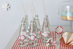 Bottles with straws. #party