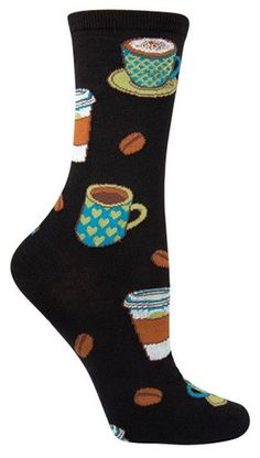 Get your caffeine fix without the afternoon jitters. If you or someone you know is plagued by a coffee addiction, become an enabler with this unique pair of Socksmith socks. No need to add cream or su