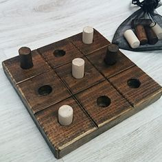"Tic Tac Toe Game travel Wooden toy Tic tac toe game Kids game Game ""Not Small Wooden Projects, Diy Wood Projects, Wood Crafts, Wooden Block Puzzle, Diy Yard Games, Wooden Toy Trucks, Making Wooden Toys, Art And Craft Shows, Wood Games"