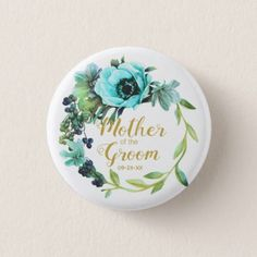 Teal Peony Wreath Mother of the Groom ID456 Button  $2.55  by arrayforaccessories  - cyo diy customize personalize unique