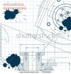 Mechanics. Technical design. Engineering style. Mechanical instrument making. Cover, flyer, banner. Draft. Ink. Blots #bubushonok #art #bubushonokart #design #vector #shutterstock #technical #engineering #drawing #blueprint  #technology #mechanism #draw #industry #construction #cad