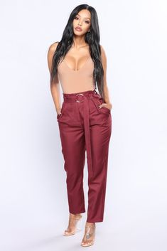 Natasha Waist Belt Pants - Wine