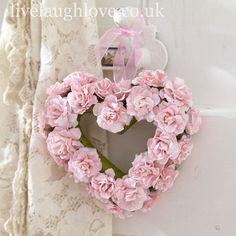 Paper Rose Hanging Heart - Pink