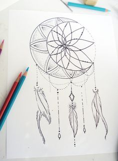 Tattoo Design - Moon Dream Catcher by RobinElizabethArt