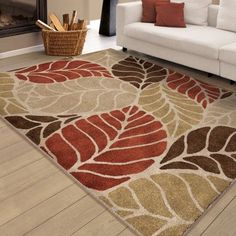 Orian Rugs Insanely Soft Leaves Leaf Levels Beige Area Rug