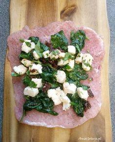 Roladki schabowe z serem i szpinakiem, 8 Mozzarella, Feta, Food And Drink, Organic, Cheese, Meals, Dishes, Drinks, Cooking