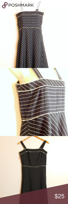 """Ann Taylor Linen Blend Fit n Flare Dress Size 6 """"Ann Taylor Loft"""" women's career casual  Women's size 6 regular Color:   Black Beige Length 38"""" shoulder to hem Chest 16.5"""" across underarm to underarm EUC excellent pre-owned condition, no visible flaws  Sleeveless Square neckline Hidden side seam zip closure Fit and flare silhouette Thin beige pin striped print Fully lined  Fabric & Care Shell 53% linen, 47% rayon Lining 100% polyester Dry Clean Only Ann Taylor Loft Dresses Midi"""