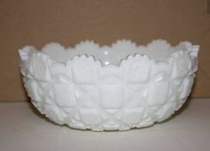 Westmoreland Milk Glass Old Quilt Bowl