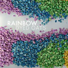 Rainbow oats: how to dye oats for sensory play from And Next Comes L