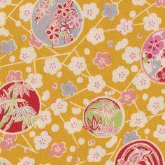 Tissu japonais - Fleurs sur fond moutarde - Adeline Klam