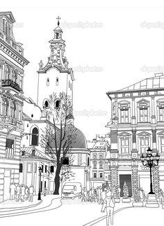 Эскиз векторные иллюстрации исторических здания Львов, Украина - Стоковая иллюстрация: 9774617