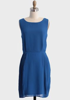 simple blue dress, easy to accessorize