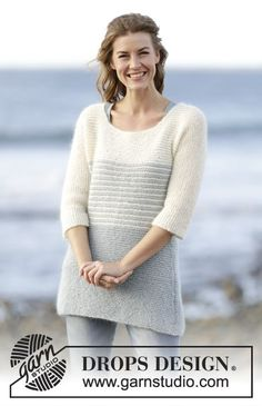 """Knitted DROPS jumper in garter st with stripes in 1 strand """"Alpaca"""" and 1 strand """"Kid-Silk"""". Free Pattern"""
