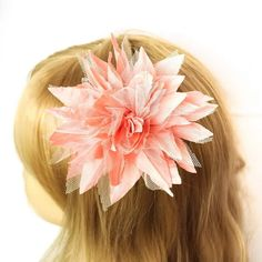 Cream white / Orange pink lace flower hair fascinator by Mamahanky, $3.99