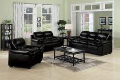 3 Pc. Contemporary Black Bonded Leather Match Living Room Set