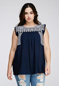 Southwestern-Embroidered Top   Forever 21 PLUS - 2000097941