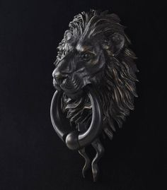 Framed Print Black and White Gothic Lion Door Knocker Picture Horror Goth Art