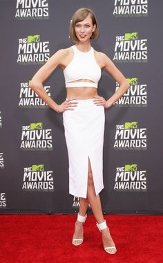 Supermodel Karlie Kloss in Alexander Wang white pencil skirt + crop top combo.