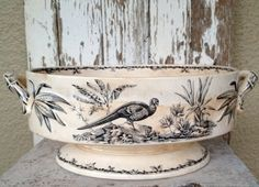 1800s antique black transferware soup tureen by histoireancienne