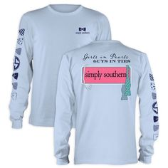 Long Sleeved Simply Southern Shirt So comfortable and perfectly paired with leggings! gorgeous bows running down the sleeve with logo. Baby blue. Simply Southern Tops Tees - Long Sleeve