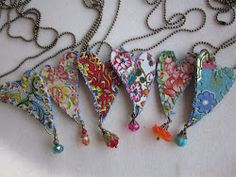 Tin heart necklaces.  I love these.