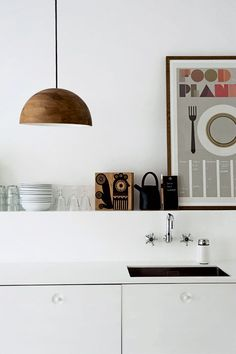love the open shelves and the unusual sink in this scandi kitchen - Boligliv