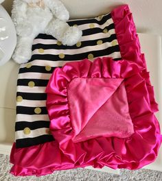 Bumperless Crib Bedding - Hot Pink, Gold Dot, and Black and White Stripe