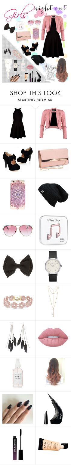 """""""Girls Night Out♡"""" by lily-x-kpop ❤ liked on Polyvore featuring New Look, FRACOMINA, Minnie Rose, BaubleBar, House of Harlow 1960, Charlotte Russe, Lime Crime, NYX and girlsnightout"""