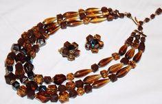 Vintage WESTERN GERMANY Root Beer Amber Lucite Earrings Necklace Set SU1 #WesternGermany