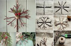 Make an Amazing Star Ornament from a Rustic Twig Country Christmas, Winter Christmas, All Things Christmas, Christmas Time, Xmas, Simple Christmas, Christmas Ideas, Star Decorations, Christmas Decorations