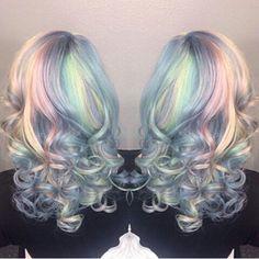 Coloured: Opal hair using pravana vivids! Pastel Rainbow Hair, Pastel Hair, Pink Hair, Colorful Hair, White Hair, Beautiful Hair Color, Cool Hair Color, Hair Colors, Opal Hair