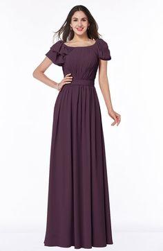 Plum Mature A-line Zipper Chiffon Floor Length Plus Size Bridesmaid Dresses