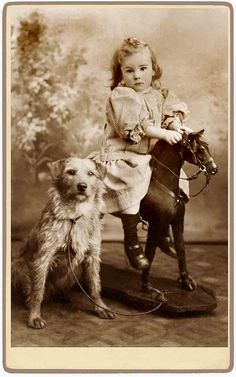 Vintage little girl on a rocking horse beside her sweet, trusted friend. Victorian Photos, Antique Photos, Vintage Photographs, Vintage Children Photos, Vintage Pictures, Old Pictures, Vintage Abbildungen, Vintage Postcards, Vintage Kids