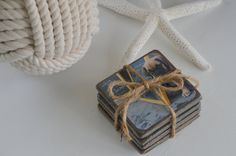 Custom Coasters Set of 4 on Slate with by FisherAndCoTrading