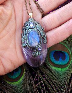 Luna Blues Silver Frost Chevron Amethyst and Blue Flash Rainbow Moonstone Crystal Energy Pendant. $63.00, via Etsy.