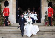Princess Eugenie Royal Wedding Oct 12 2018 Jack and his new wife Eugenie exit the chapel after their royal wedding ceremony in St Geo. Royal Wedding Gowns, Royal Weddings, Wedding Dresses, Duchess Of York, Duke Of York, Adele, Trendy Wedding, Wedding Styles, Princesa Eugenie