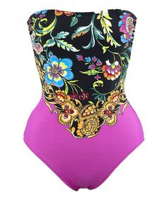 $59.99  Take a look at the Diva Swim Pink & Black Paisley Strapless One-Piece - Plus on #zulily today!