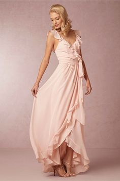 Ruffled and romantic, Joanna August's tulip-hemmed wrap dress is tied together with a chiffon sash. #ruffled #dress