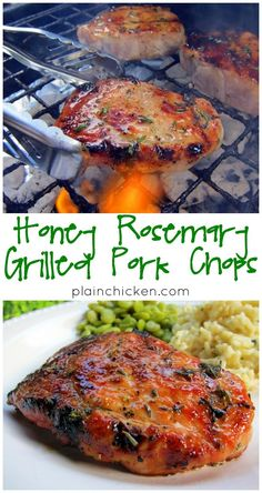 Honey Rosemary Grilled Pork Chops - pork brushed with honey, olive oil, and fresh rosemary. I prepped the meat while the grill heated up. It only took a few minutes. The pork chops were tender, juicy and packed full of flavor. The rosemary was so fragra Pork Rib Recipes, Grilling Recipes, Meat Recipes, Cooking Recipes, Healthy Recipes, Cooking Pasta, Cooking Pork, Smoker Recipes, Recipies